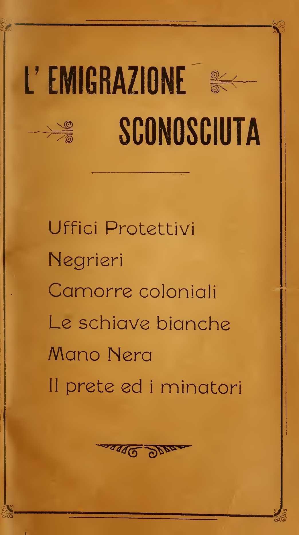 """Portada del llibre """"L'emigrazione sconosciuta"""" (1911) d'Abenavoli"""