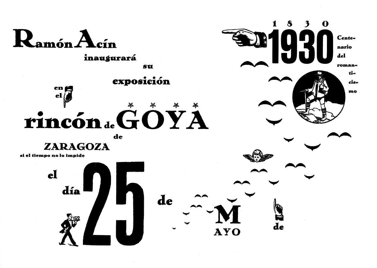 Cartell anunciador de l'exposició de Ramón Acín al Rincón de Goya (maig de 1930)