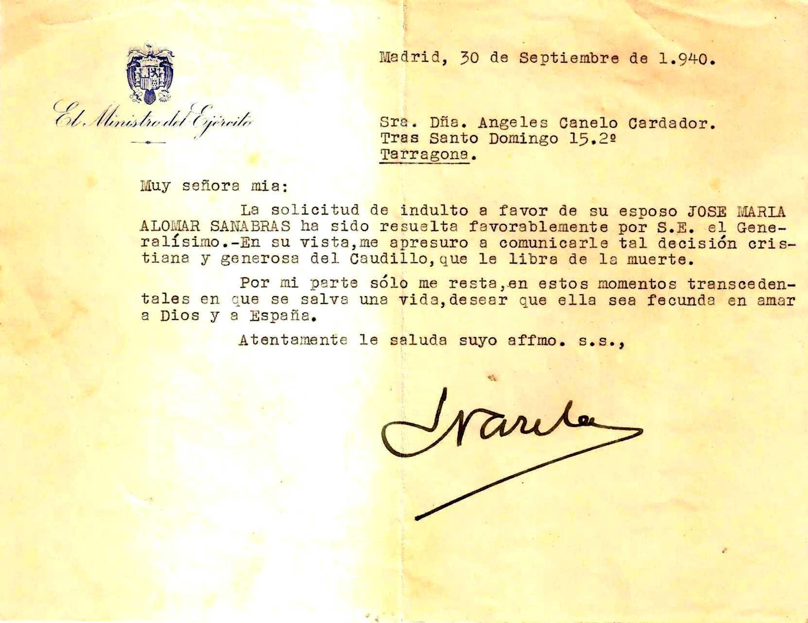 Carta del general Enrique Varela, ministre de l'Exèrcit franquista, a l'esposa d'Alomà, Ángeles Canelo Cardador, comunicant-li l'indult