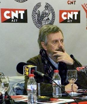 Moncho Alpuente en la rueda de premsa del centenari de la CNT (Madrid, 2010)