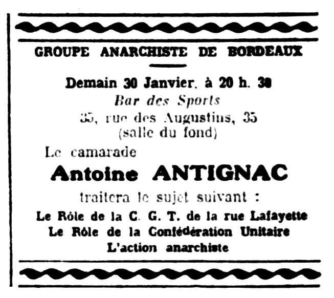 """Propaganda de l'acte apareguda en el periòdic parisenc """"Le Libertaire"""" del 29 de gener de 1925"""