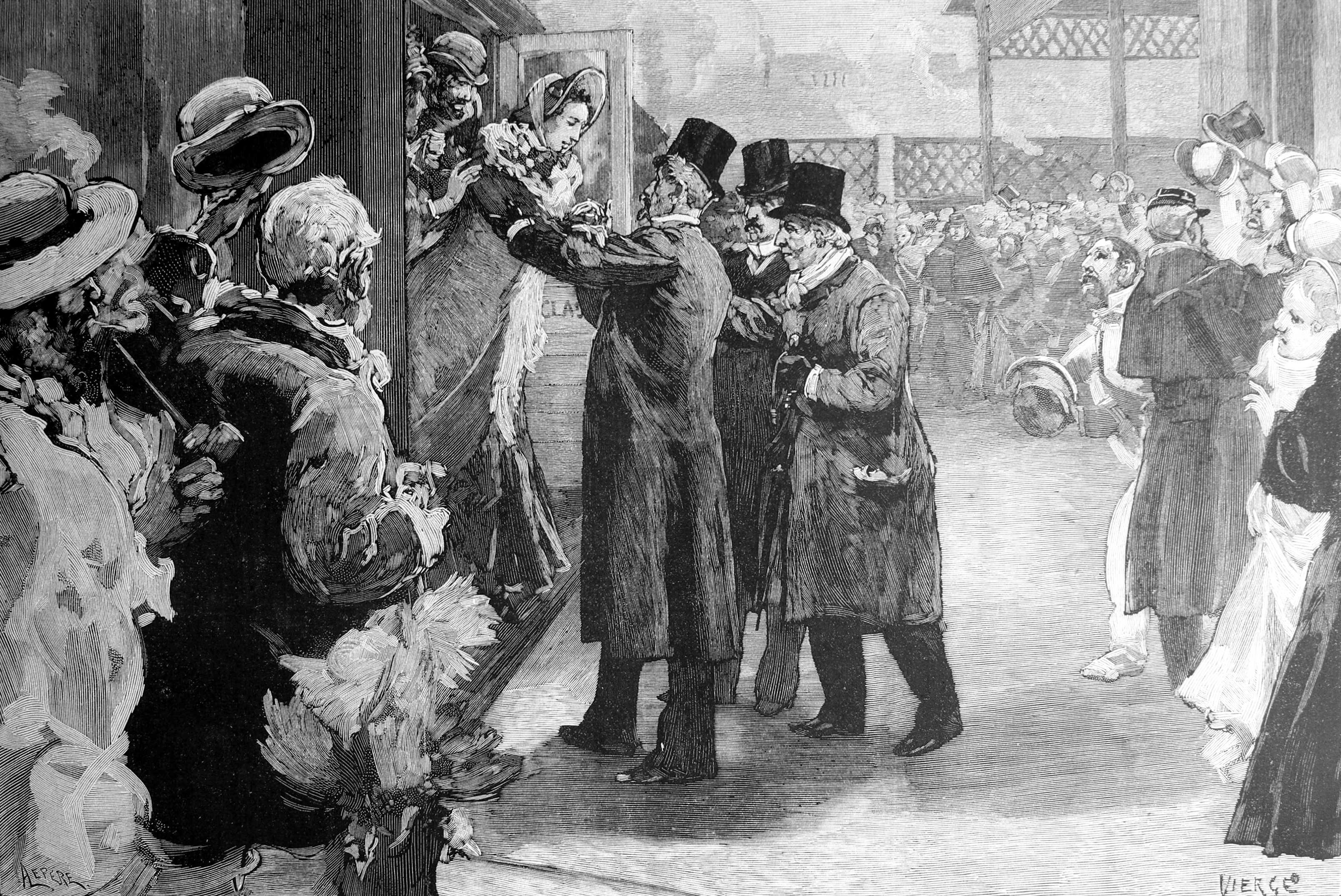 Arribada de Louise Michel a l'estació de Saint-Lazare de París on és rebuda per Henri de Rochefort, Louis Blanc i Georges Clémenceau. Dibuix de Vierge