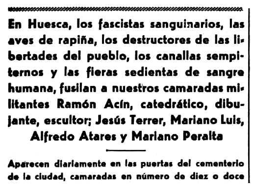 """Notícia sobre l'execució d'Alfredo Juan Atarés Gracia apareguda en el diari barceloní """"Solidaridad Obrera"""" del 16 d'agost de 1936"""