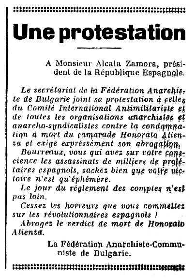 """Notícia sobre la campanya búlgara de suport a Honorato Atienza Zamora publicada en el periòdic de Llemotges """"La Voix Libertaire"""" del 9 de desembre de 1934"""