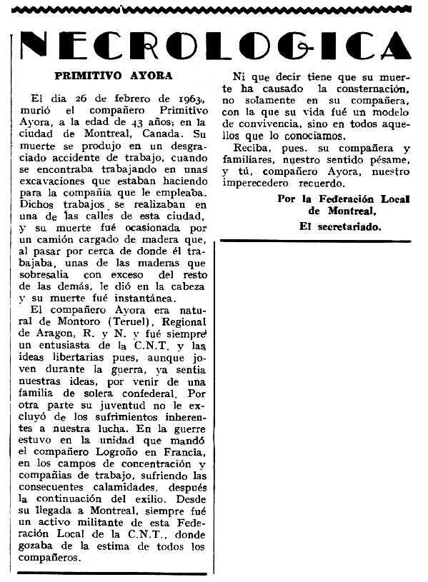 """Necrològica de Primitivo Ayora Guía apareguda en el periòdic tolosà """"Espoir"""" del 24 de març de 1963"""