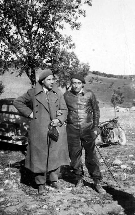 Libero Battistelli (dreta) amb Albino Marvin (Aragó, maig de 1937)