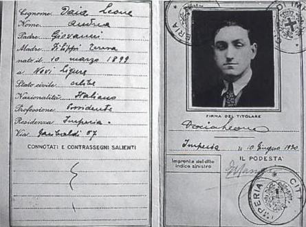 Documentació falsa d'Ersilio Belloni a nom de Leone Daia (1930)