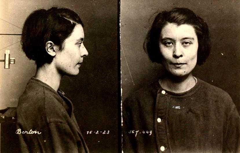 Foto antropométrica de Germaine Berton (1923)