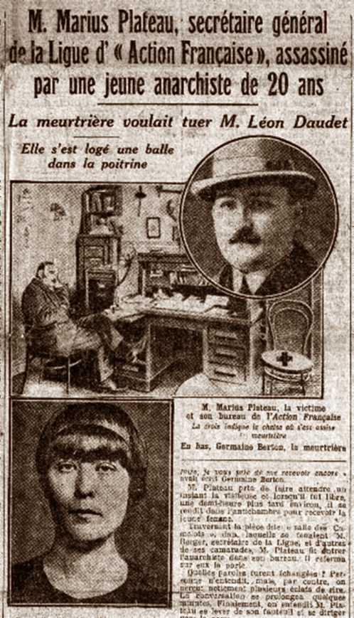 "La notícia de l'atemptat de Germaine Berton apareguda en ""Le Petit Journal"" de París del 23 de gener 1923"