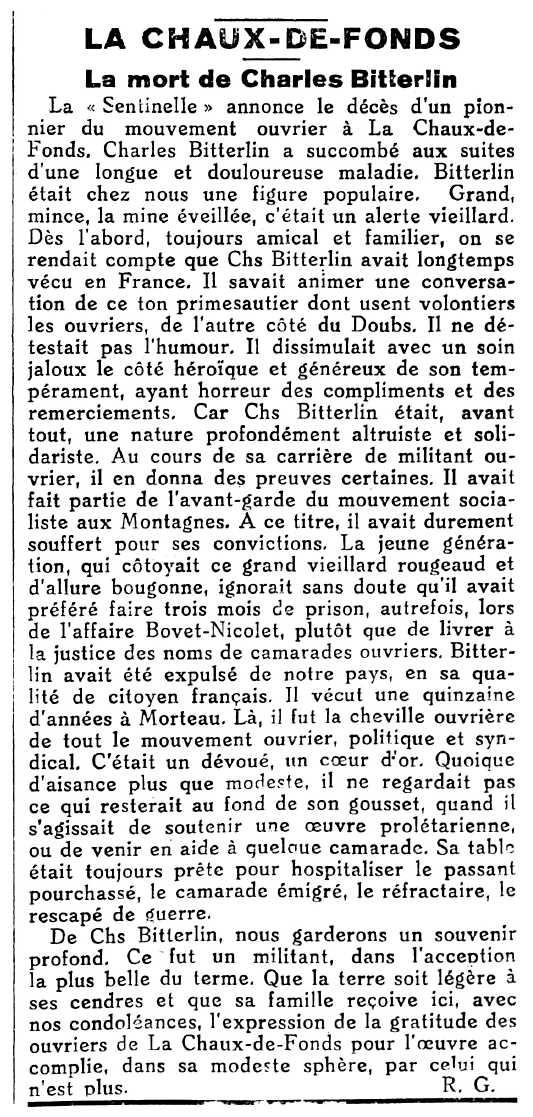 "Necrològica de Charles-Albert Bitterlin apareguda en el diari socialista de La Chaux-de-Fonds ""Le Sentinelle"" del 19 de desembre de 1933"