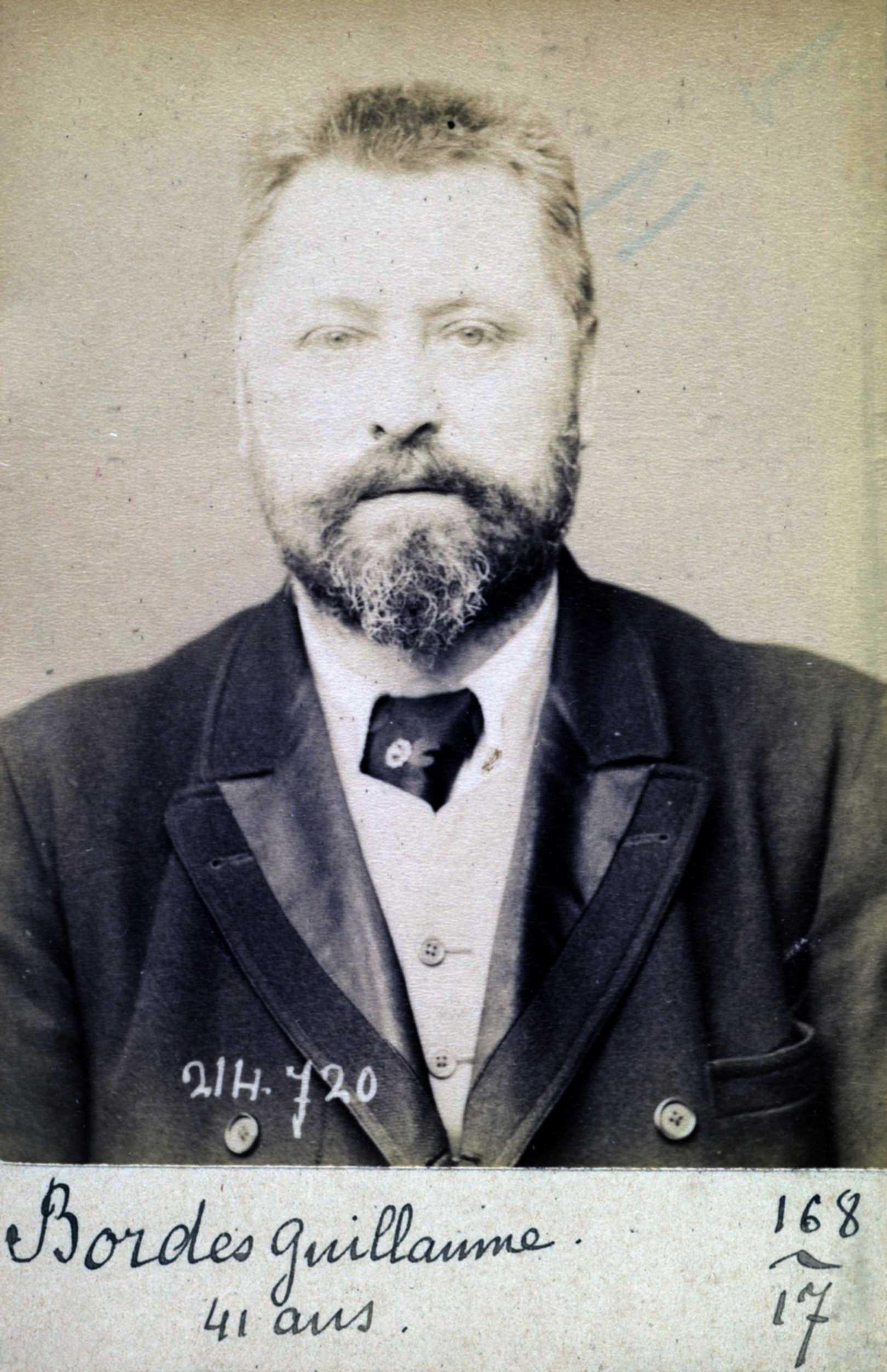 Foto policíaca d'Auguste Bordes (29 de febrer de 1894)