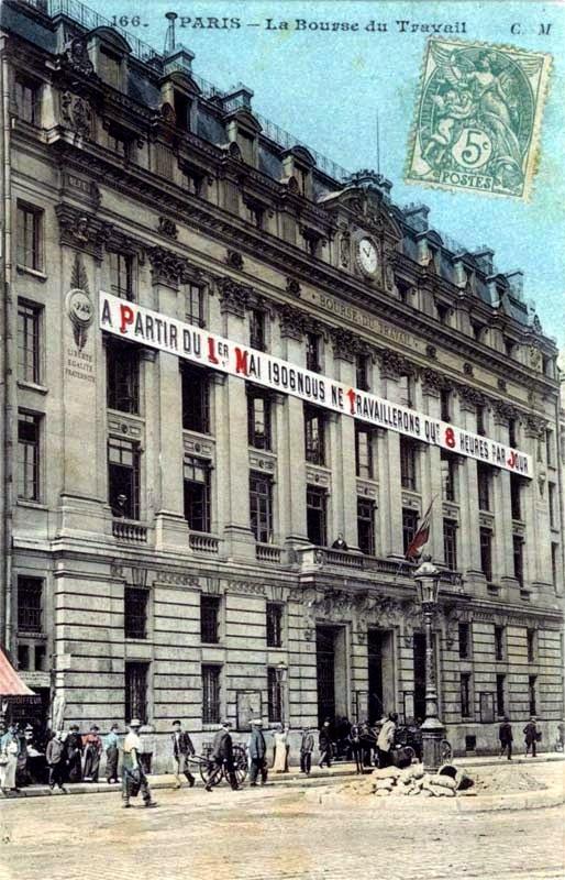 Borsa de Treball de París (Primer de Maig de 1906) [cartoliste.ficedl.info / Coll. part. E.B-C]