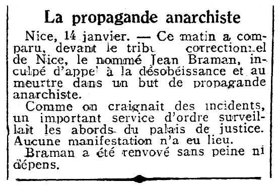 """Notícia sobre el processament de Jean Braman aparegut en el diari parisenc """"La Dépêche"""" del 15 de gener de 1931"""