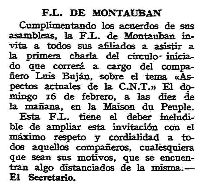 """Notícia sobre la conferència de Luis Buján Castiñeiras apareguda en el periòdic tolosà """"CNT"""" del 16 de febrer de 1958"""