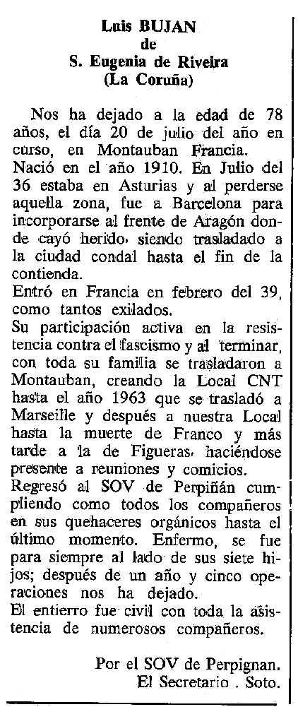 """Necrològica de Luis Buján Vilas apareguda en el periòdic tolosà """"Cenit"""" de l'1 de novembre de 1988"""