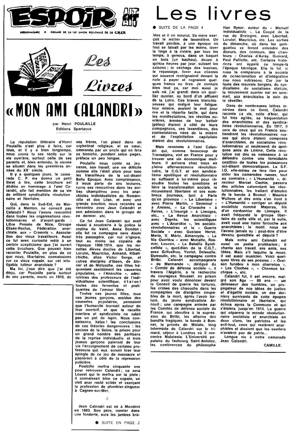 """Ressenya del fullet d'Henri Poulaille sobre Jean Calandri publicada en el periòdic tolosà """"Espoir"""" del 7 de novembre de 1971"""