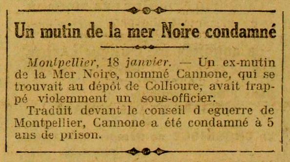 """Notícia de la condemna d'Alphonse Sauveur Cannone apareguda en el diari parisenc """"L'Oeuvre"""" del 19 de gener de 1922"""