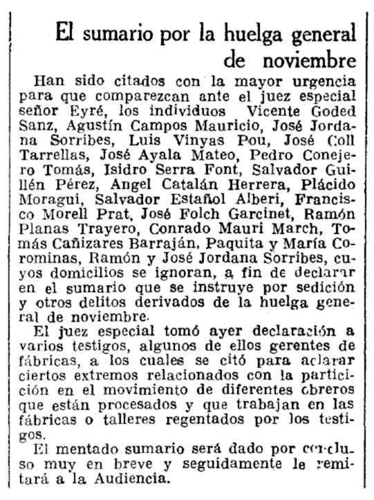 """Notícia del processament de Tomás Cañizares Barraján i altres companys publicada en """"La Vanguardia"""" del 13 de febrer de 1931"""