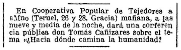 """Notícia de la conferència de Tomás Cañizares Barraján publicada en """"La Vanguardia"""" del 4 d'octubre de 1932"""