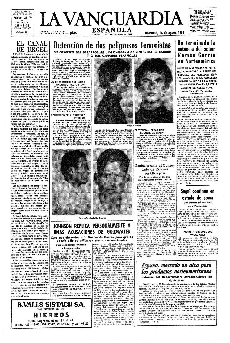La detenció de Carballo i de Christie segons la premsa franquista