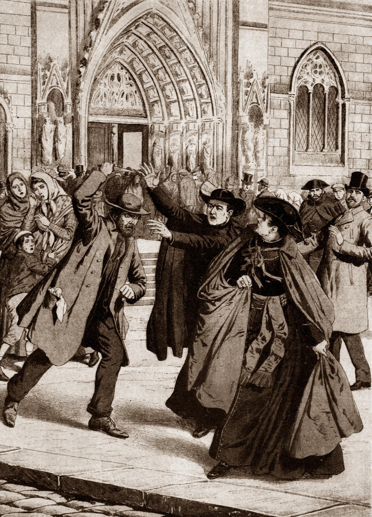 """L'atemptat de Josep Sala i Comes contra el cardenal Casañas segons el """"Supplement Illustré du Petit Journal"""" (núm. 230)"""