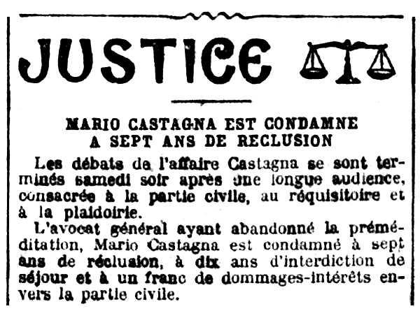 Notícia de la condemna de Mario Castagna apareguda en el diari parisenc La Croix de l'1 de juliol de 1924