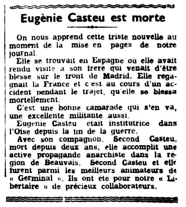"""Necrològica d'Eugénie Casteu publicada en el periòdic parisenc """"Le Libertaire"""" del 10 de juny de 1937"""