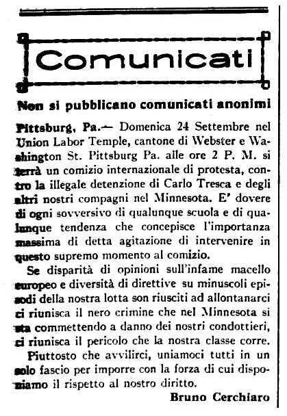 "Comunicat de Bruno Cerchiaro sobre la detenció de Carlo Tresca aparegut en el periòdic de Barre (Vermont, EUA) ""Cronaca Sovversiva"" del 16 de setembre de 1916"