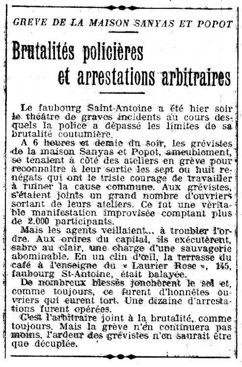 """La noticia de los enfrentamientos según """"L'Humanité"""" (14-06-1910)"""