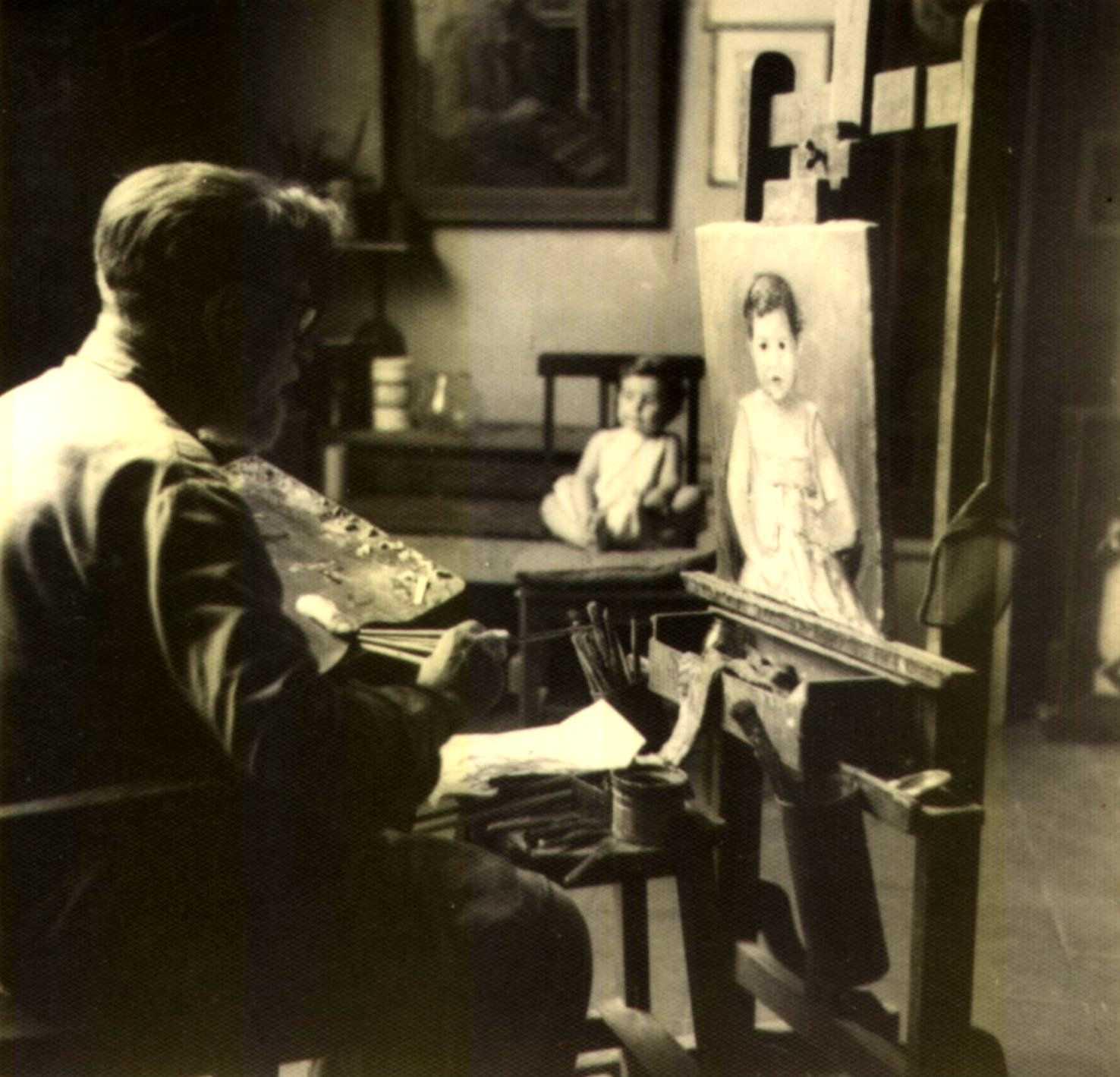 Gustavo Cochet realitzant el retrat de la futura poetessa Beatriz Vignoli (1966)