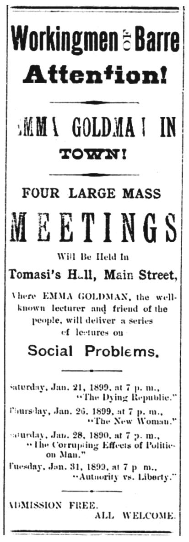 """Propaganda de l'acte publicada en el periòdic """"Barre Evening Telegram"""" del 17 de gener de 1899"""
