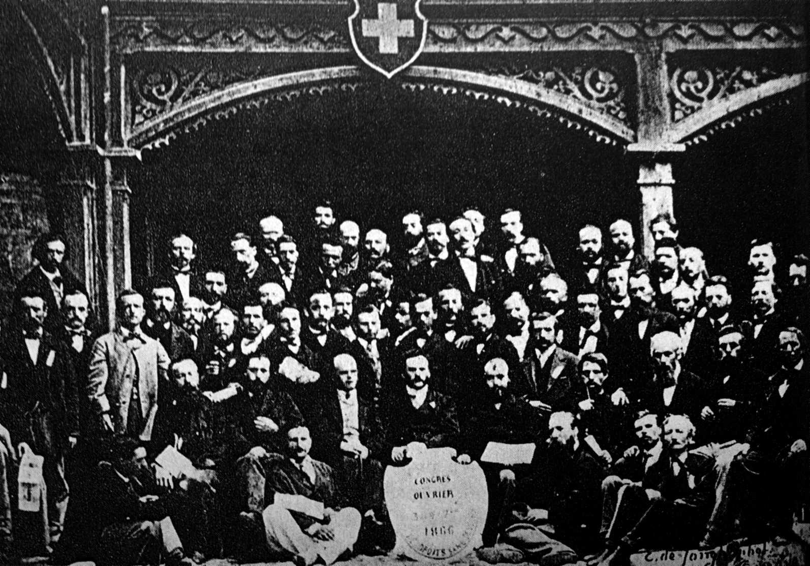 Delegats i observadors del I Congrés de l'AIT de Ginebra (1866) fotografiats per E. Jongh