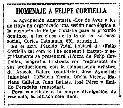 """Notícia sobre l'homenatge a Felip Cortiella Ferrer apareguda en el diari barceloní """"La Vanguardia"""" del 23 de setembre de 1937"""