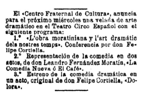 """Anunci de l'acte en el diari barceloní """"La Vanguardia"""" del 5 d'octubre de 1903"""