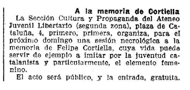 """Publicitat de l'homenatge apareguda en """"La Vanguardia"""" del 15 d'octubre de 1937"""