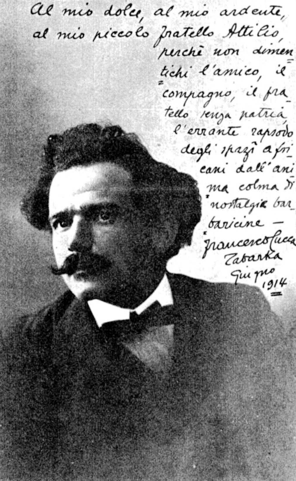 Francesco Cucca en una fotografia enviada al seu amic Attilio Deffenu des de la ciutat tunisiana de Tabarka (juny de 1914)