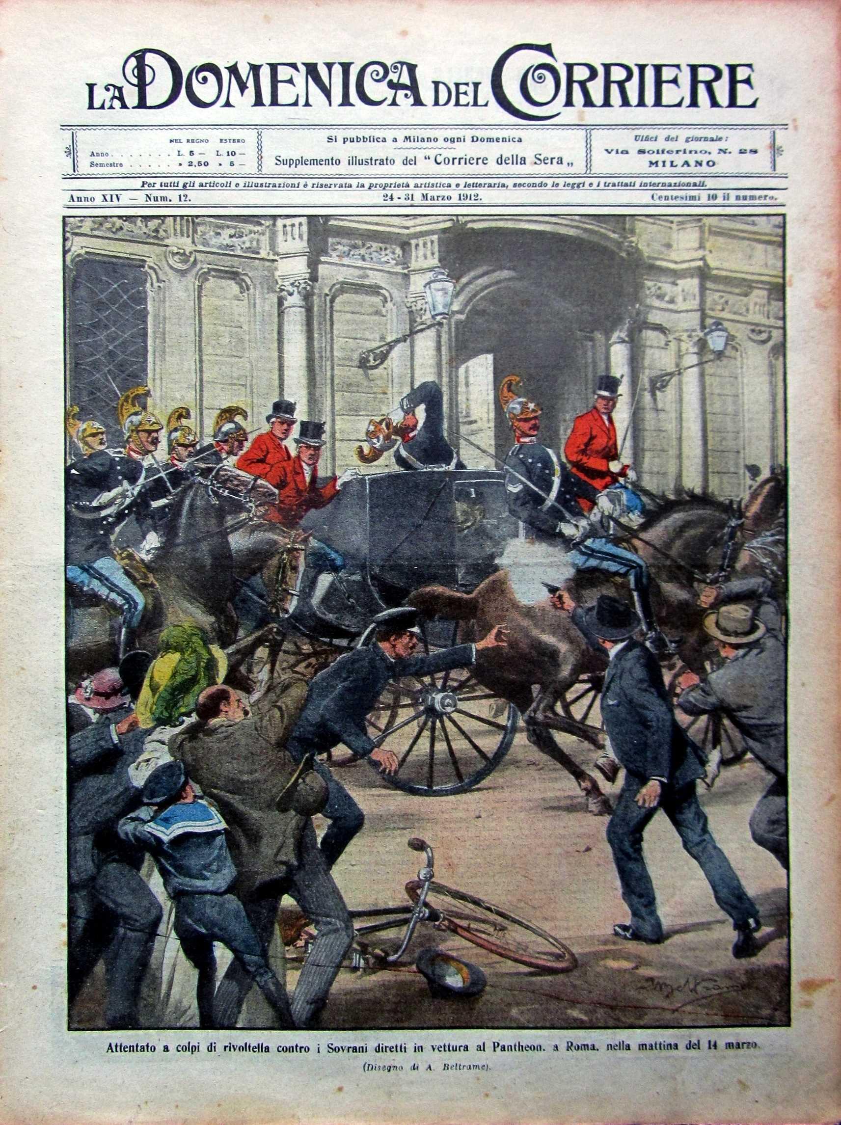 """L'atemptat contra el rei Víctor Manuel III d'Itàlia segons el setmanari milanès """"La Domenica del Corriere"""" del 23 de març de 1912"""