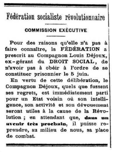 """Notícia de l'exili de Louis Dejoux apareguda en el periòdic lionès """"Le Droit Social"""" de l'11 de juny de 1882"""
