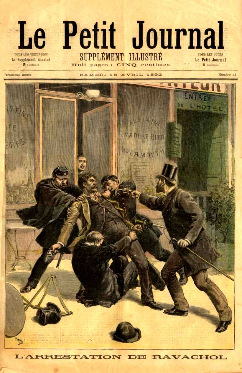 "La detenció de Ravachol segons un dibuix d'Henri Meyer (""Le Petit Journal Illustré"", 16 d'abril de 1892)"