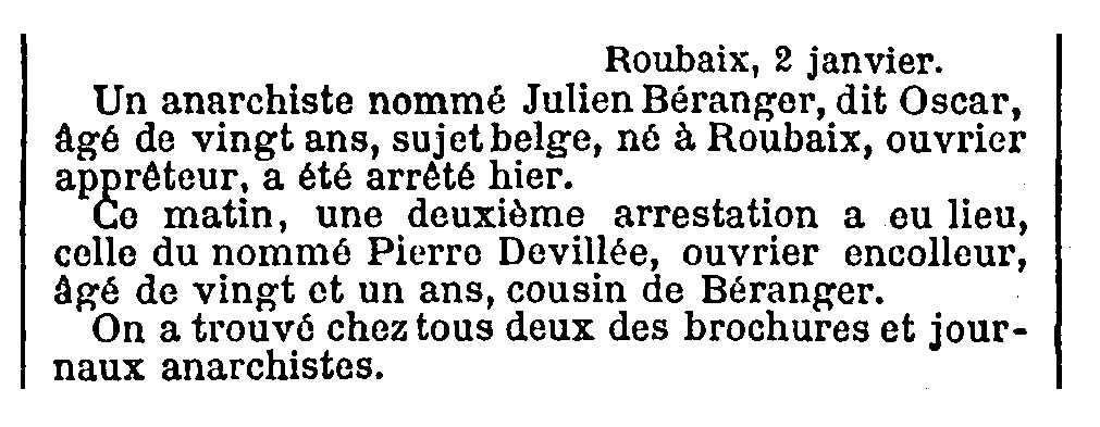 """Notícia de la detenció de Pierre Devilers apareguda en el diari parisenc """"Le Temps"""" del 2 de gener de 1894"""