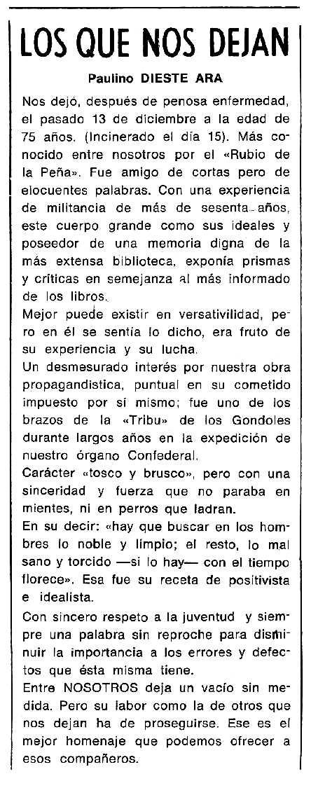 """Necrològica de Paulino Dieste Ara apareguda en el periòdic tolosà """"Cenit"""" del 20 de gener de 1987"""