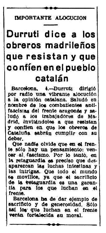 """Reseña del discurso de Durruti publicada en el diario madrileño """"La Libertad"""" del 5 de noviembre de 1936"""