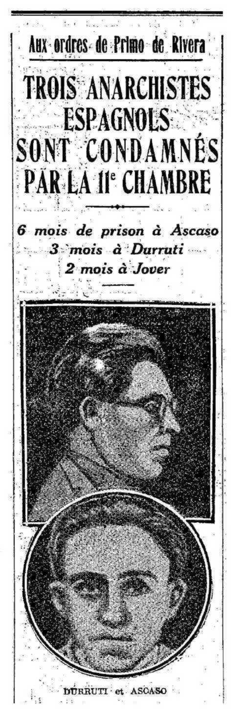 """Notícia del judici apareguda en el periòdic comunista parisenc """"L'Humanité"""" del 8 d'octubre de 1926"""