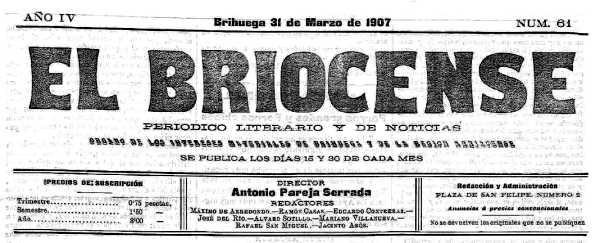 """Capçalera d'""""El Briocense"""" del 31 de març de 1907"""
