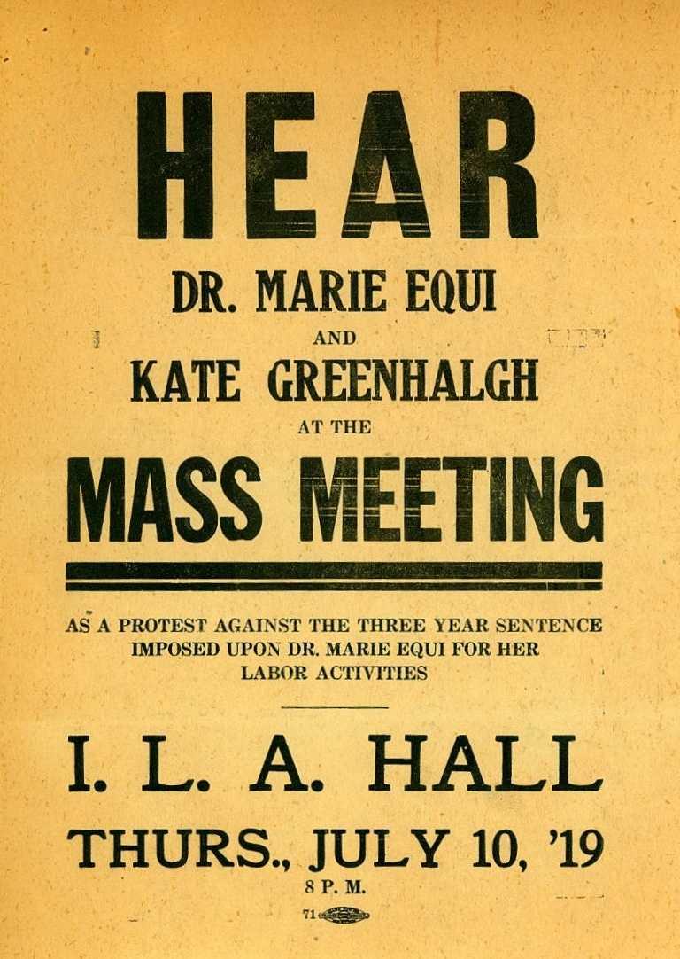 Full volant propagandístic del míting d'Equi i de Greenlhalg