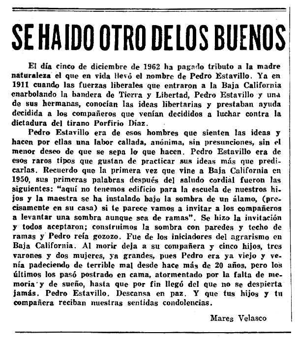 """Necrològica de Pedro Estavillo apareguda en el periòdic mexicà """"Tierra y Libertad"""" de gener de 1963"""