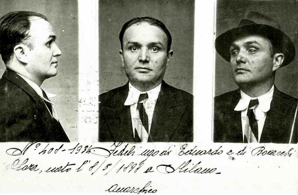 Ugo Fedeli en una fotografia policíaca (1934)