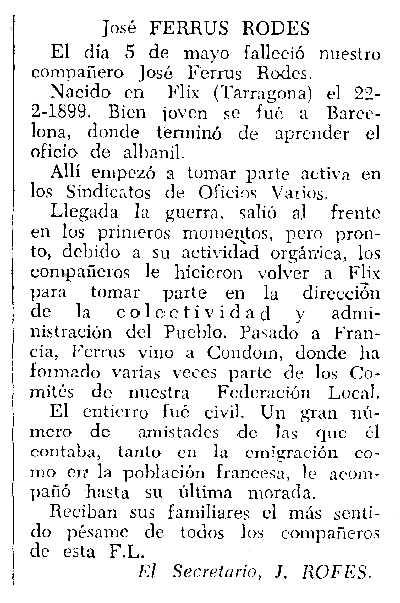 """Necrològica de Josep Ferrús Rodes apareguda en el periòdic tolosà """"CNT"""" del 10 de juliol de 1960"""