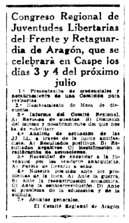 """Convocatòria del I Congrés Regional de JJ. LL. d'Aragó apareguda en el periòdic barceloní """"Solidaridad Obrera"""" de l'1 de juliol de 1937"""