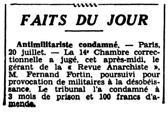 """Notícia d'una de les comdemnes de Fernand Fortin apareguda en el diari de Rennes """"L'Ouest-Éclair"""" del 21 de juliol de 1936"""